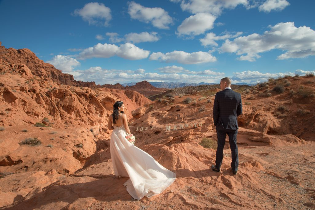 Newly married couple at Valley of Fire Wedding