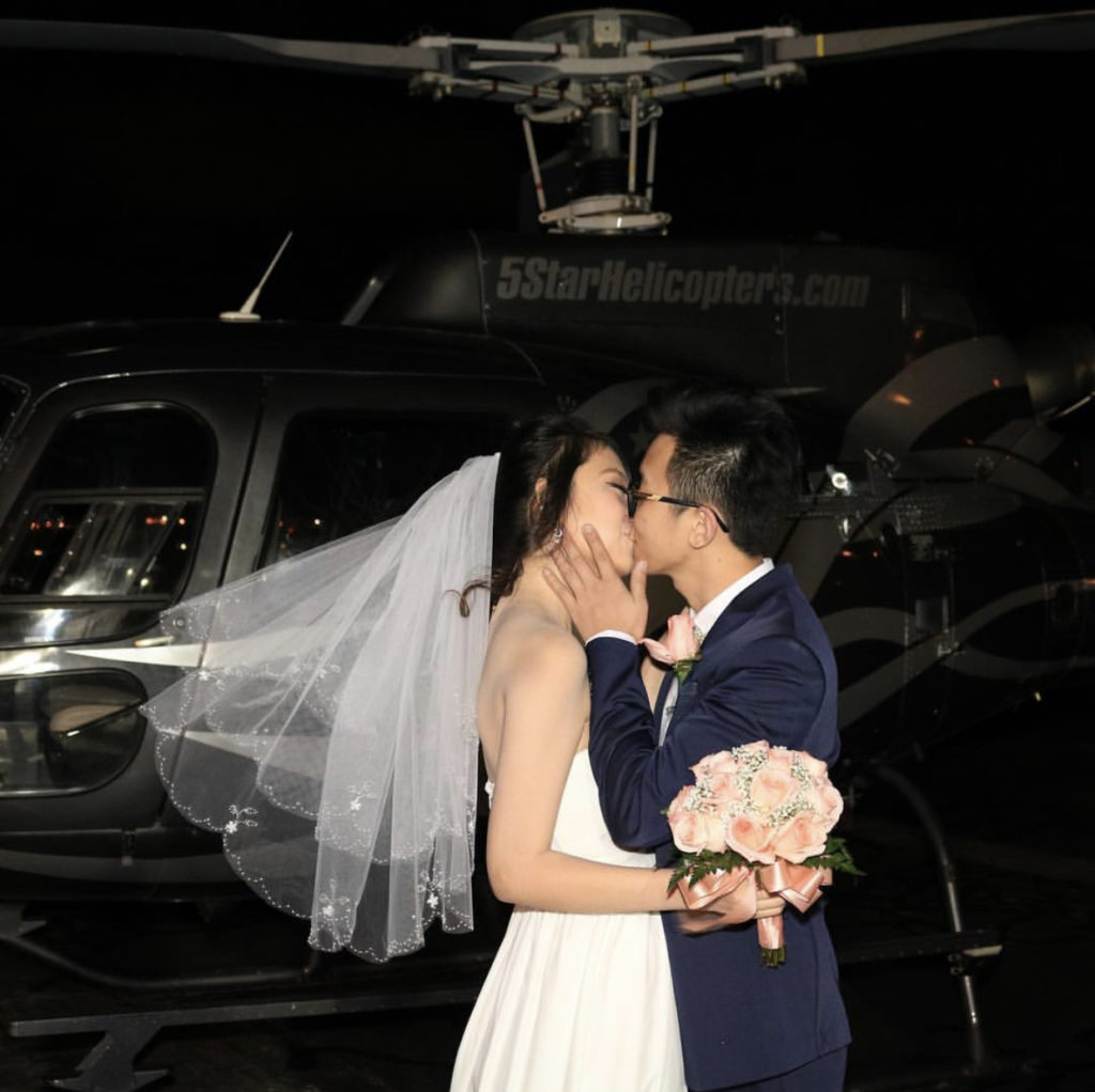 Night flight helicopter wedding
