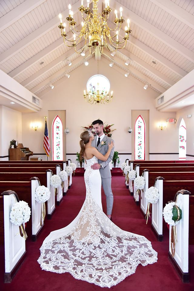 Bride and Groom married inside wedding chapel